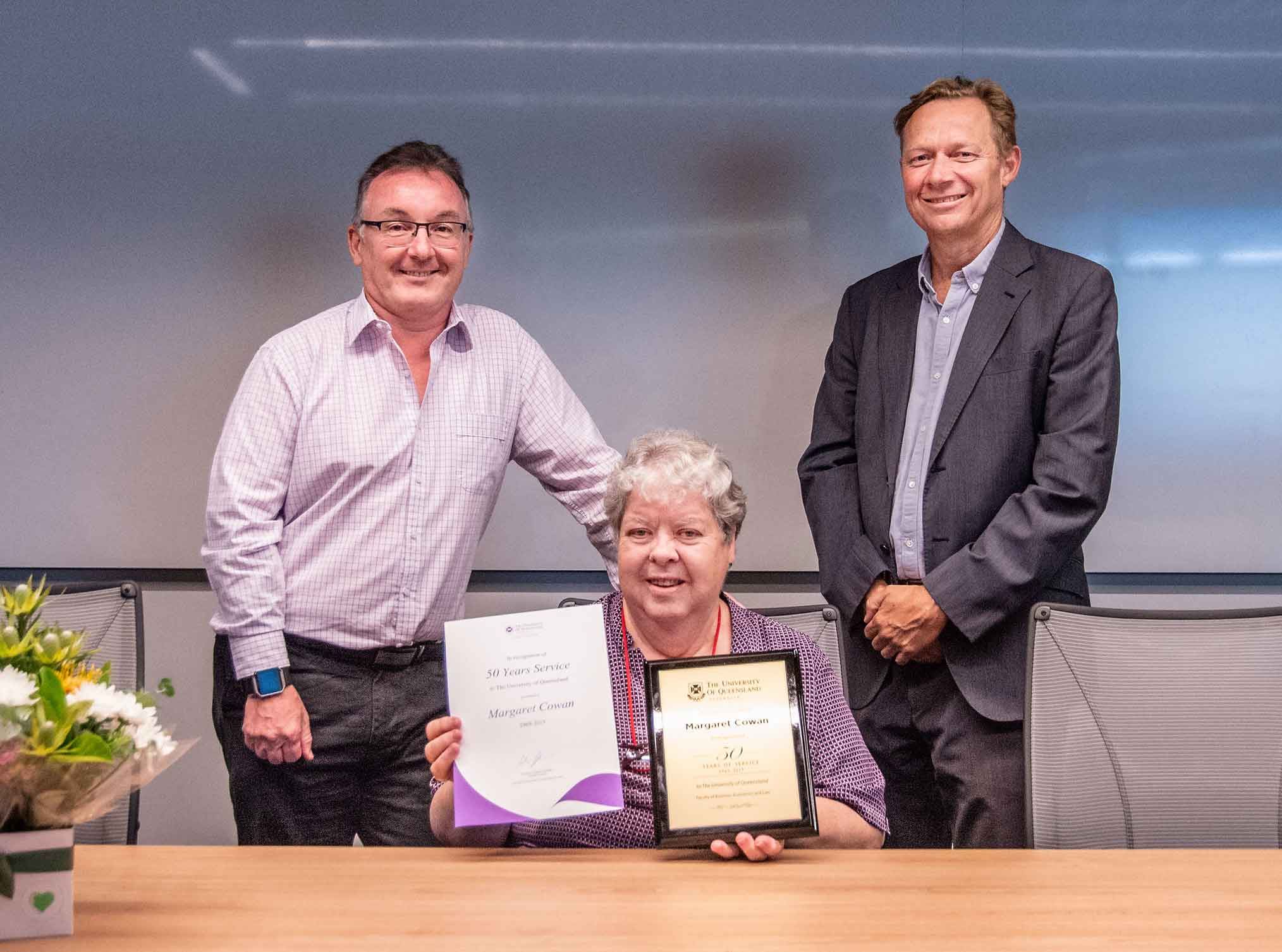 his is an image of Deputy Executive Dean Professor Phil Bodman, award-winner Margaret Cowan and Executive Dean Professor Andrew Griffiths