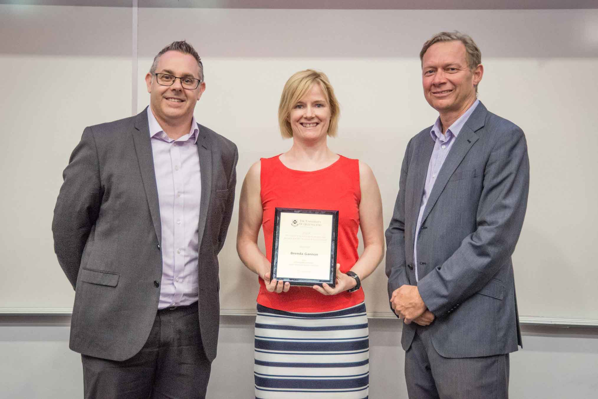 This is an image of Professor Brent Ritchie, award-winner Professor Brenda Gannon, and Professor Andrew Griffiths