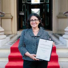 The award winning Dr Frédérique Bracoud on the steps of Customs House.