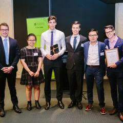 Economics Honours Class of 2016: Travis Duff, Thi Mai Anh Nguyen, Stuart Morrison, Daniel Mouat, Tsz Yin Lui and Colin Burns