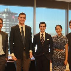 Left to right: Professor Flavio Menezes with students Jonathon Clark-Jones, Nicholas Harvey, Preeti Sing and Filip Milosavljevic.