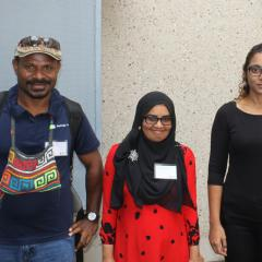 Australia Award scholarship holders Arnold Patiken, Aminath Sunooha Ali and Sajida Ahmed