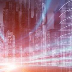 digital view of city buildings