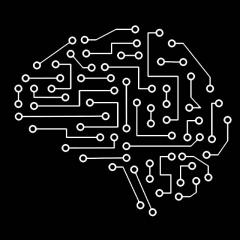 simple diagram of a brain made of circuits
