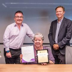 This is an image of Deputy Executive Dean Professor Phil Bodman, award-winner Margaret Cowan and Executive Dean Professor Andrew Griffiths