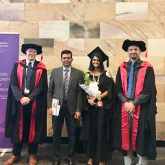 Medallist Ransi Weerasooriya with her father and her honours supervisors, Dr Christiern Rose and Dr Antonio Peyrache