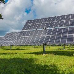 solar panels in a green field.