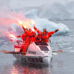 This is an image of UQ graduate Cameron Bellamy and his crew as they rowed the Drake Passage