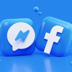 Facebook and Messenger logos in 3d